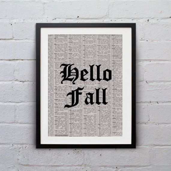 Printable Hello Fall Halloween quote black and by SweepingGirlSays