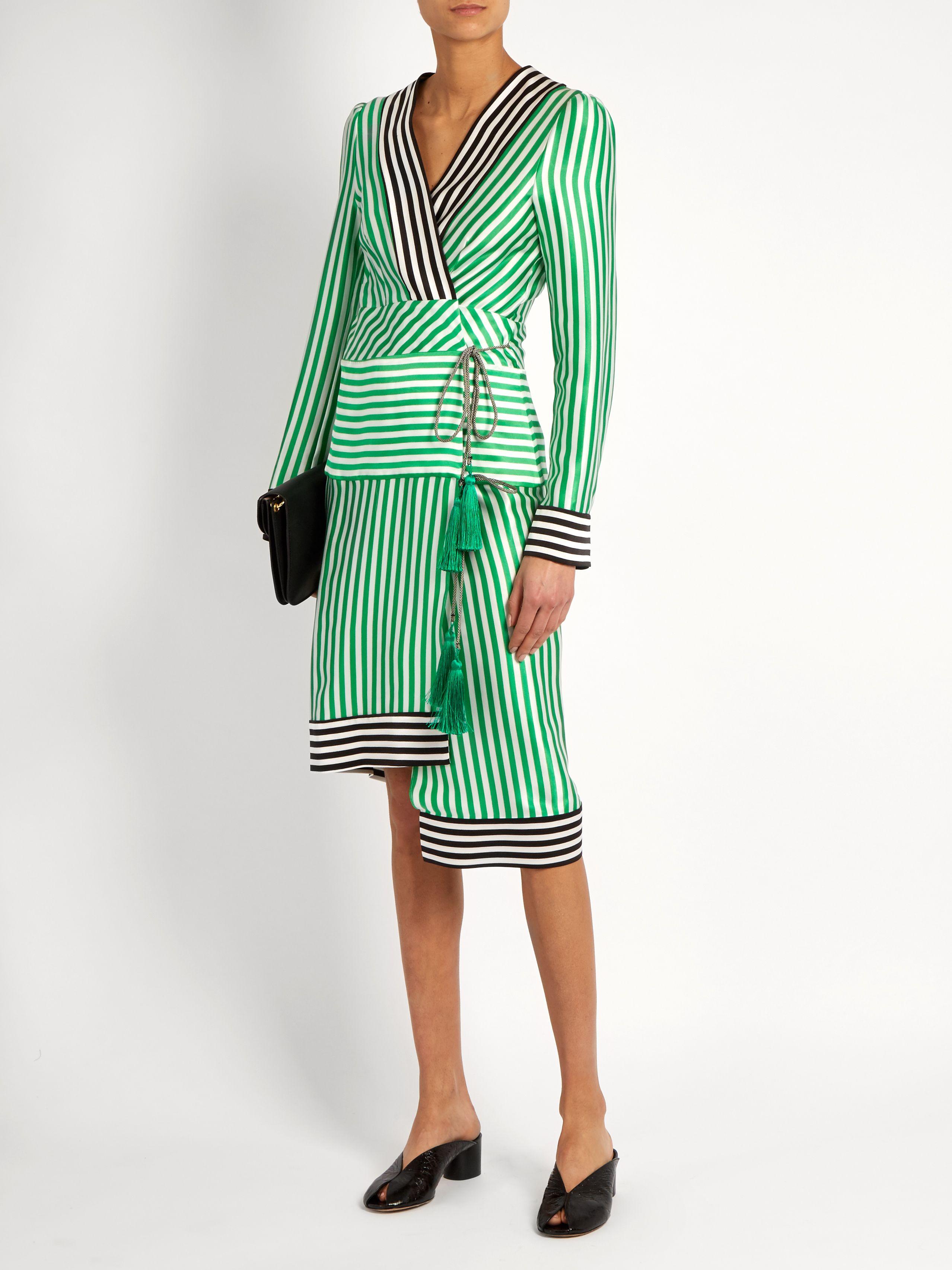 0bc6d941c3 Asymmetric-hem striped silk-satin wrap dress