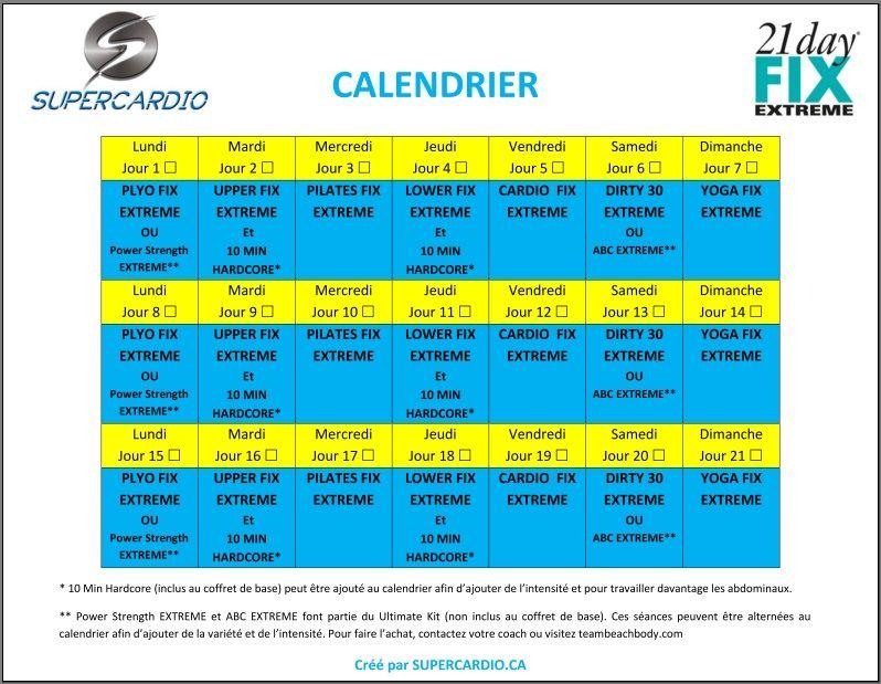 voici un calendrier 21 day fix extreme que vous pouvez
