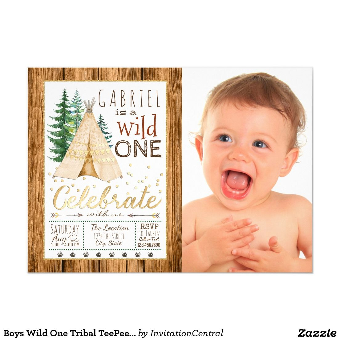 Boys Wild One Tribal TeePee First Birthday Card | First Birthday ...