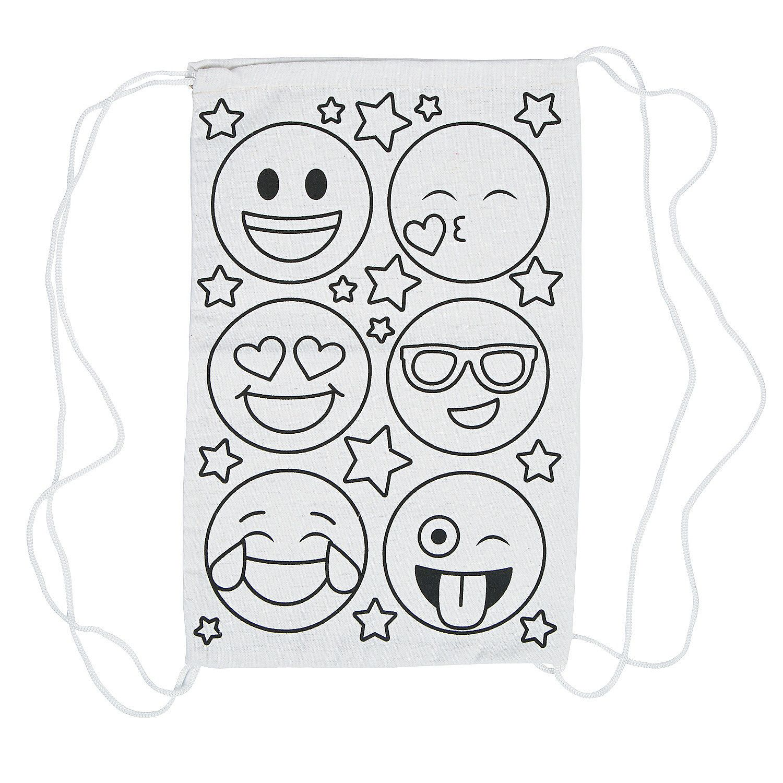 Color Your Own Medium Emoji Canvas Drawstring Bags Oriental Trading Emoji Coloring Pages Emoji Painting Emoji [ 1500 x 1500 Pixel ]