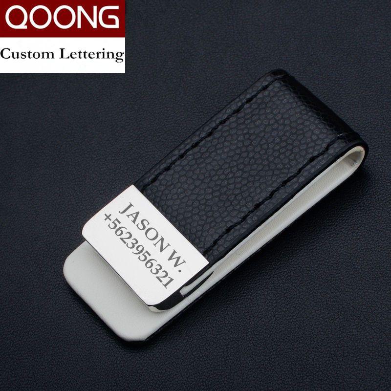 QOONG Männer Frauen Leder Geld-Clip Brieftasche Dünne Metall Geld halter Sicher Bill Clip Clamp für Geld Kreditkarten ML1-046