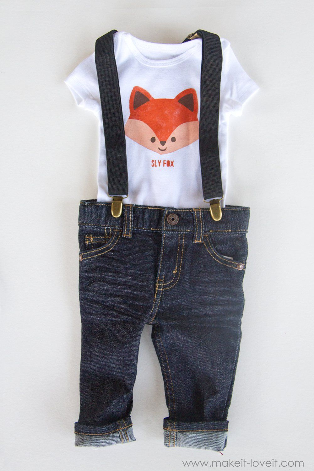 Foxbearraccoon diy stenciled onesies with tails on the