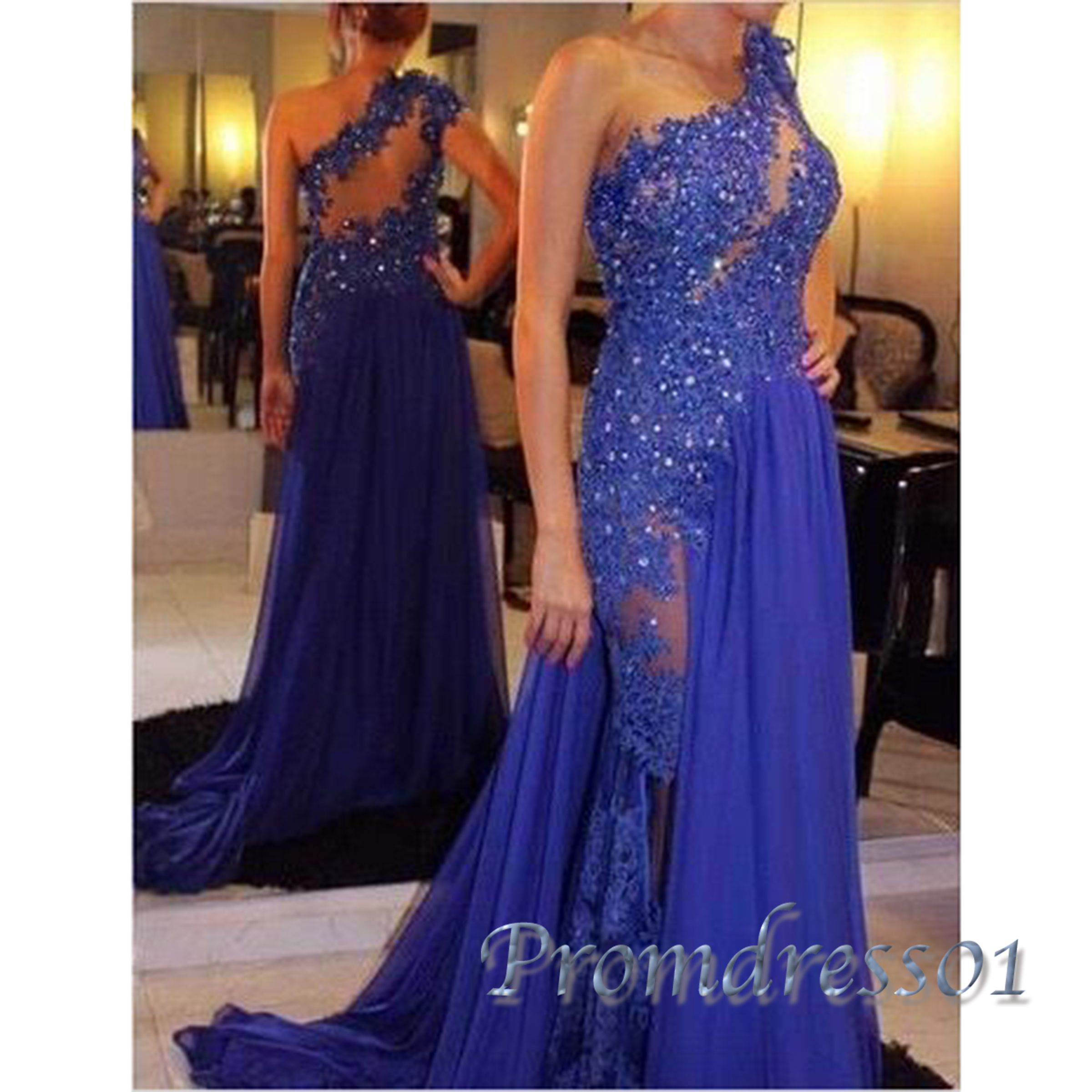 Elegant one shoulder loyal blue lace chiffon long prom dress with