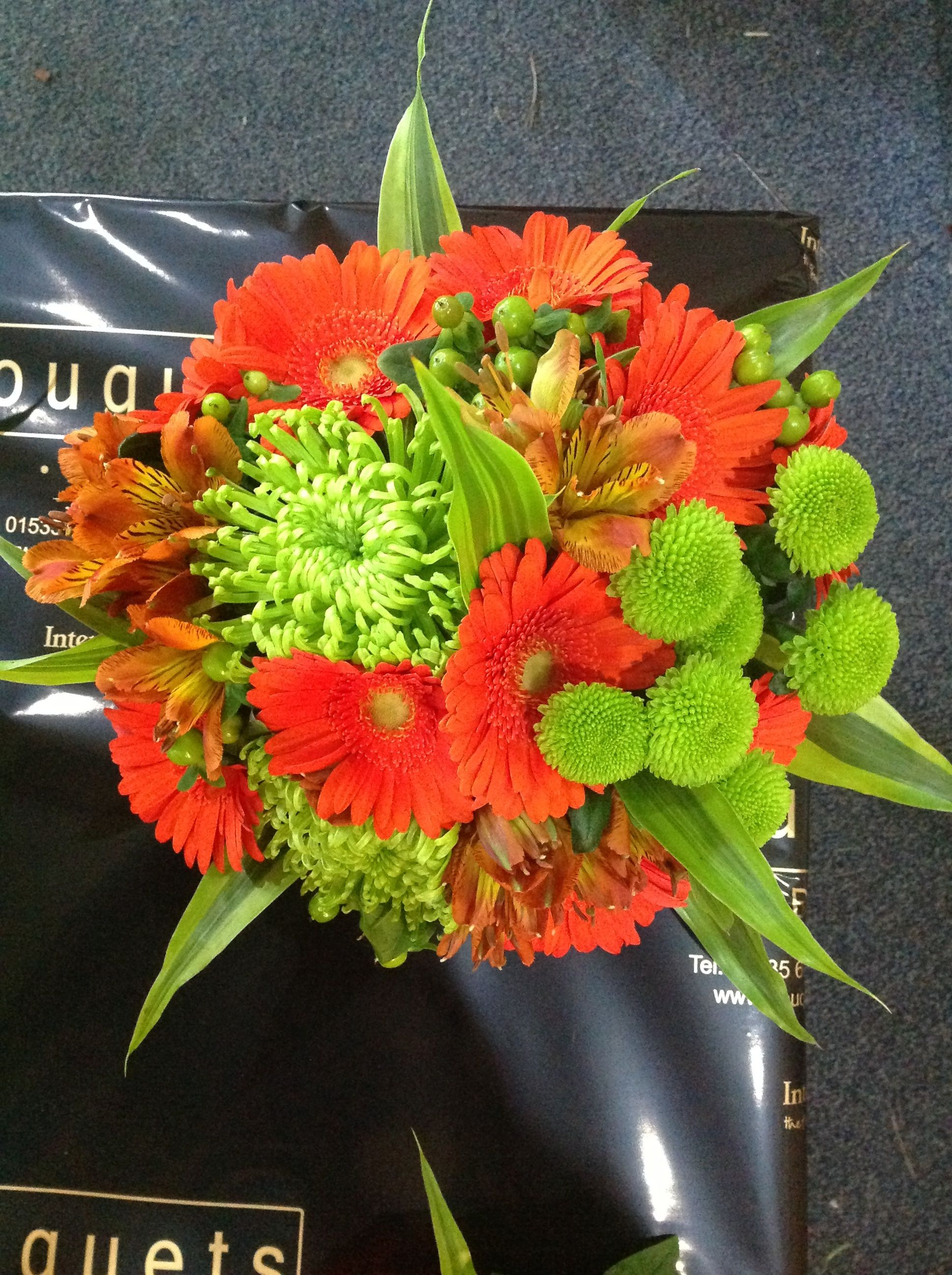 Orange & lime citrus bridal bouquet of germini & shamrock