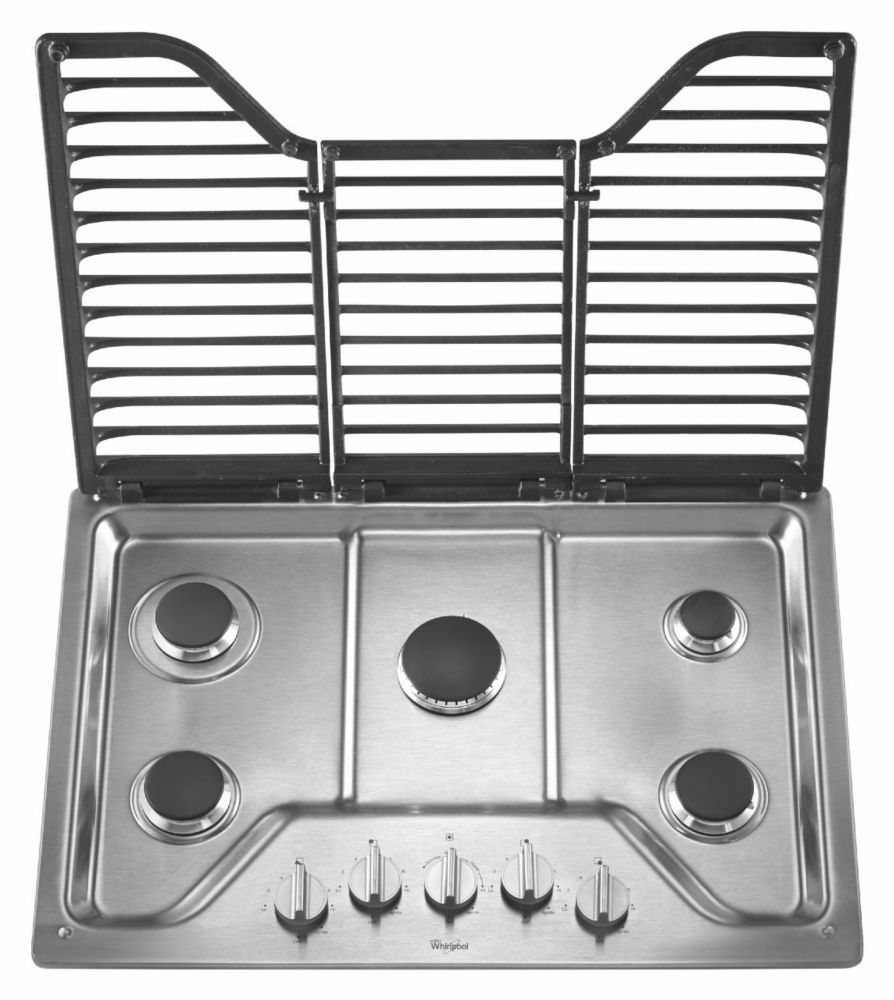 30inch five burner gas cooktop with ez2lift hinged cast