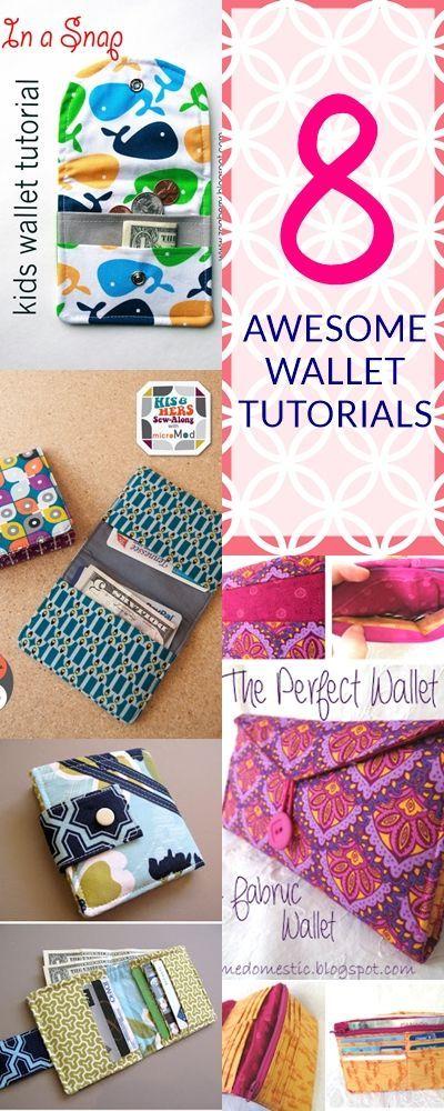8 Super Cute DIY Wallet Tutorials | Pinterest | Nähen, Taschen nähen ...
