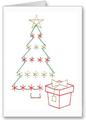 Free Paper Stitching Cards Patterns Christmas Stitching Card