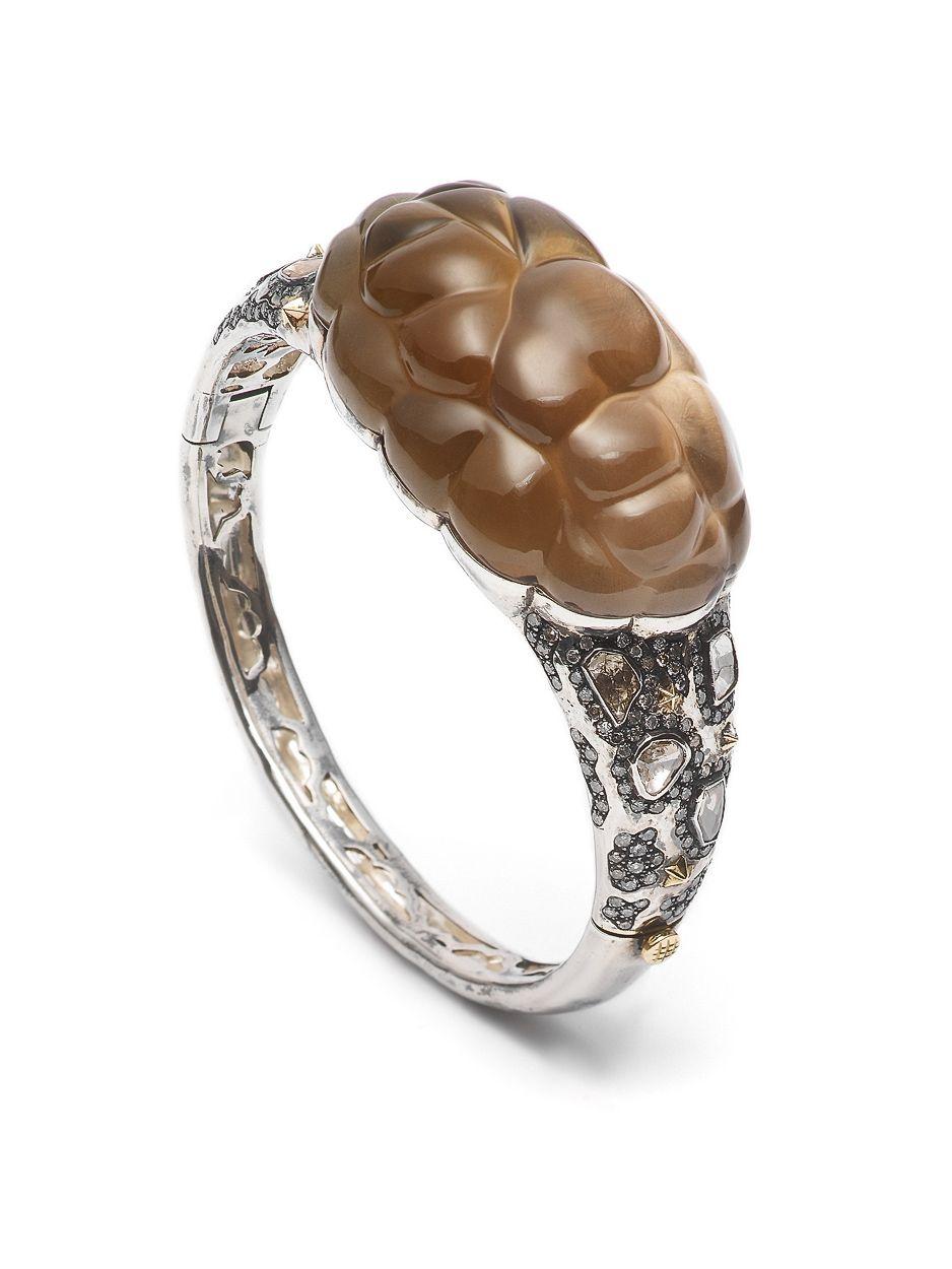 Bibi van der Velden, Cloud Collection, Cloud bracelet - Rhodinated sterling silver with smokey quartz and diamonds