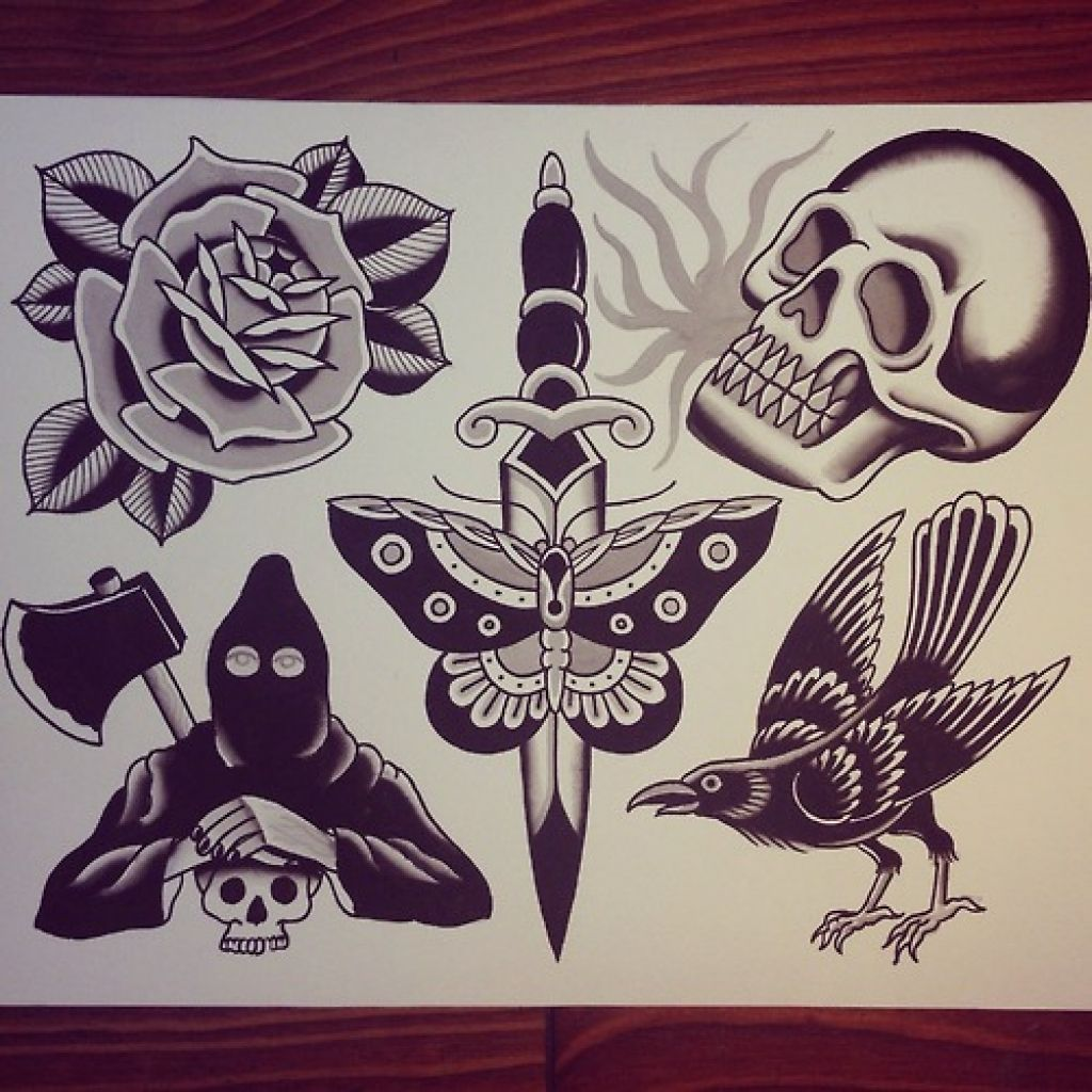Traditional Flash Skull Tattoos: 12 Traditional Tattoo Emphasize The Classic Style