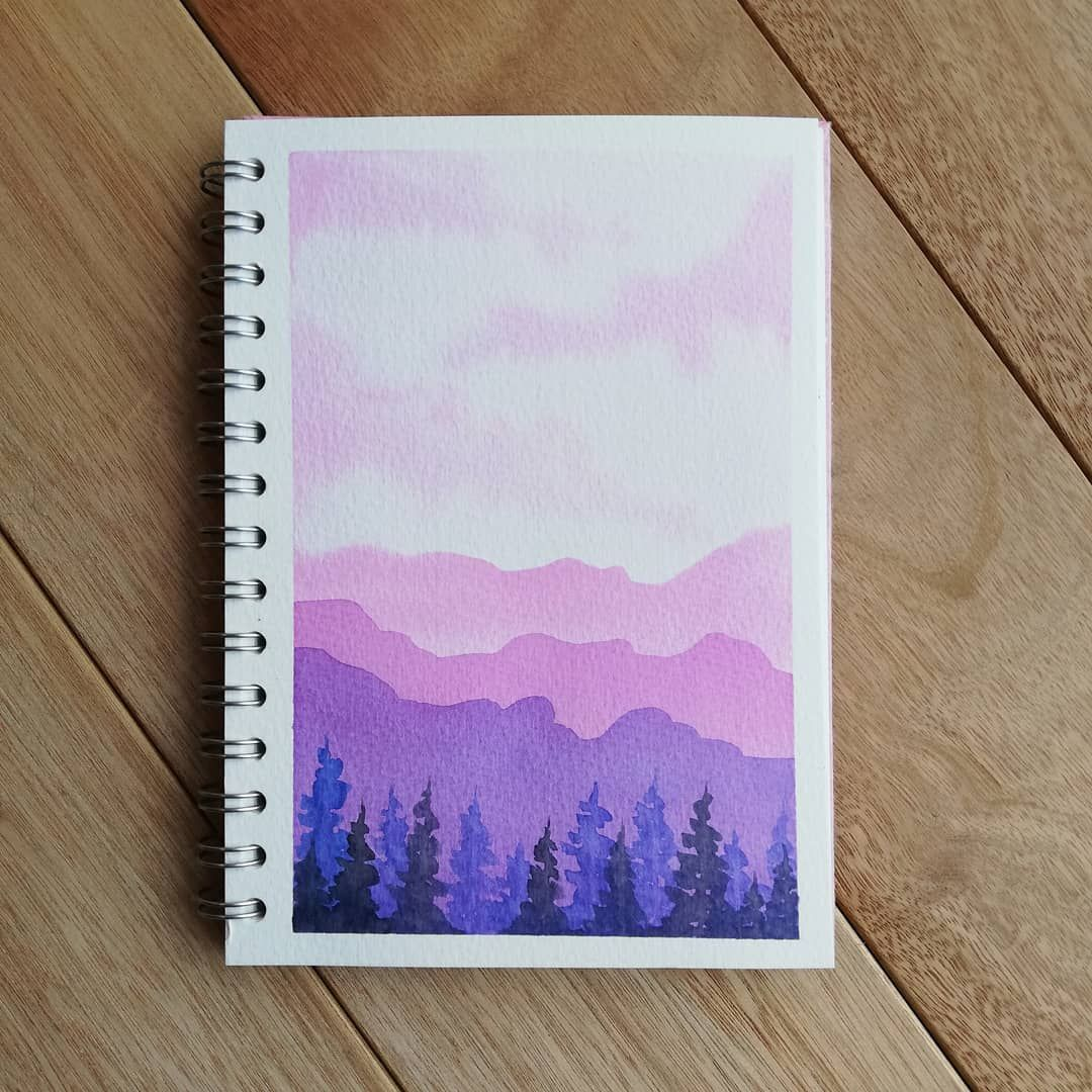 A Little Purple Landscape In My Watercolor Sketchbook Pink