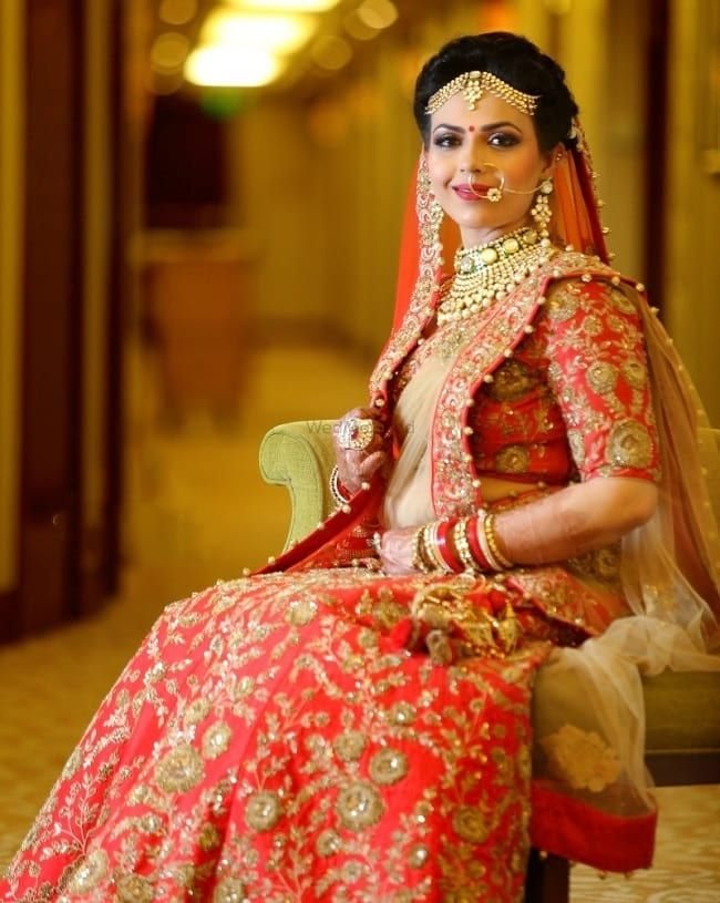 675ea44496 100 Latest Designer Wedding Lehenga Designs for Indian Bride - LooksGud. Coral  Red Wedding Lehenga With Zari Work