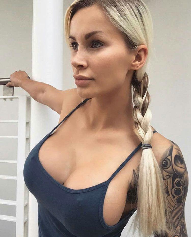 Busty blonde babe