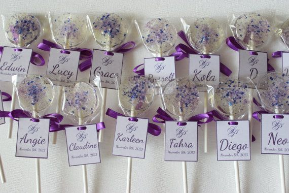 100 Lollipop Place Card Favors Purple Wedding Favor Lollipops And Grey Candy