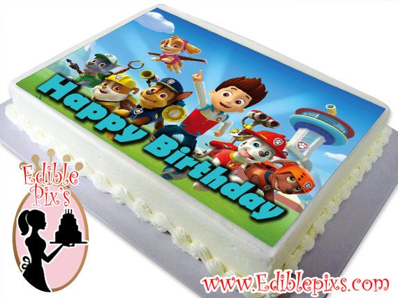 PAW PATROL RECTANGLE EDIBLE CAKE TOPPER DECORATION PERSONALISED