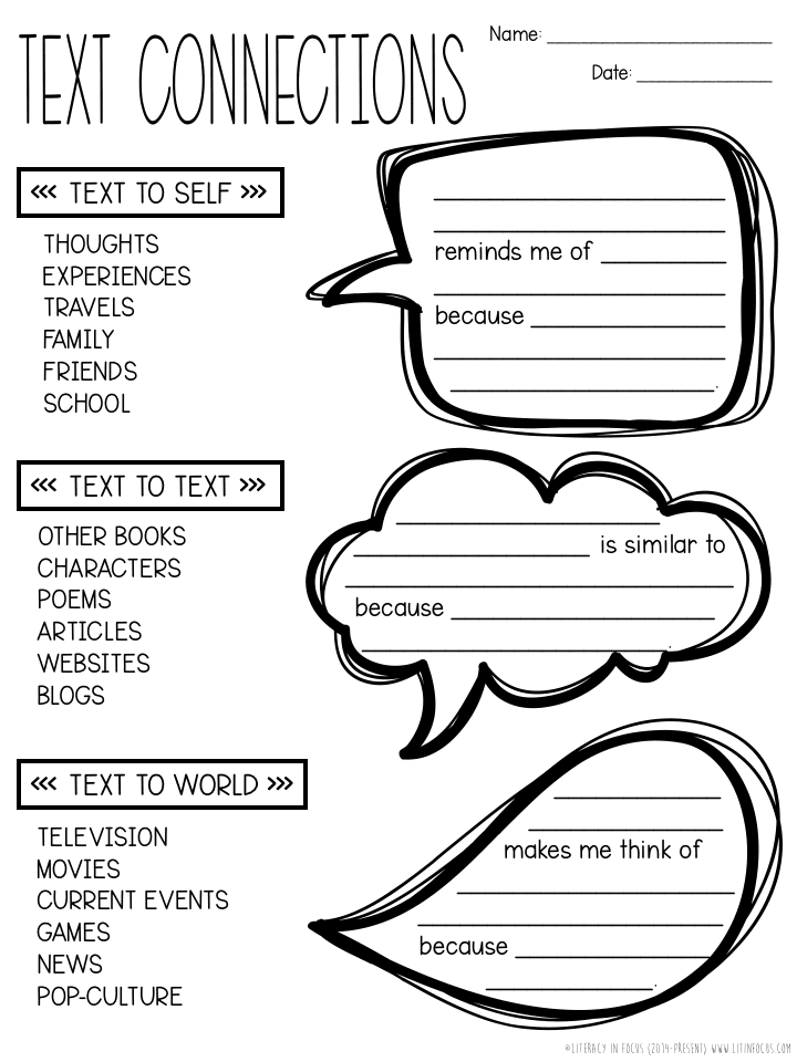 Increase Text Connections With Sentence Frames | Literacy In Focus