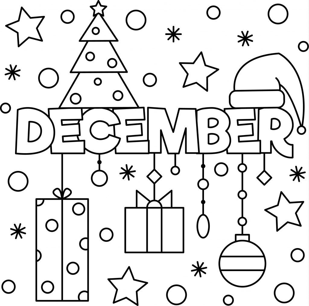 End Of The Year December Colouring Sheet