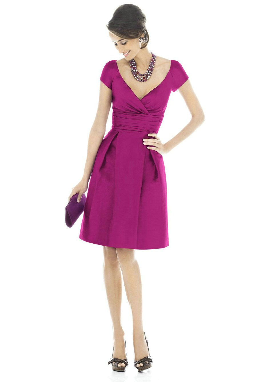V Neck Ruched Satin Short Fuchsia Bridesmaid Dress With Short ...