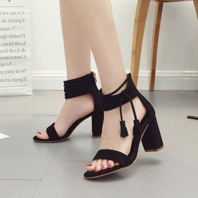 129cac717fe Black Suede Block Heel Strappy Ankle Sandals  SS17   ShanghaiTrends ...