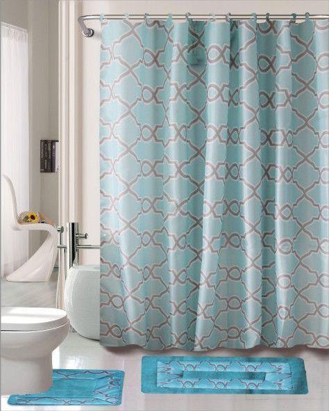 Dylan 15 Piece Shower Curtain Set Shower Curtain Sets Shower