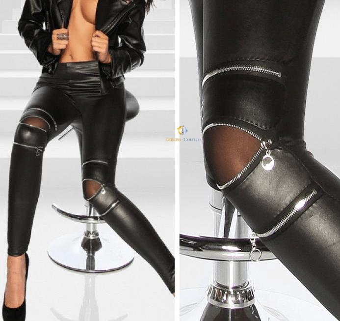 Leather Stretch Skinny Zipper Knee Casual Legging Pants