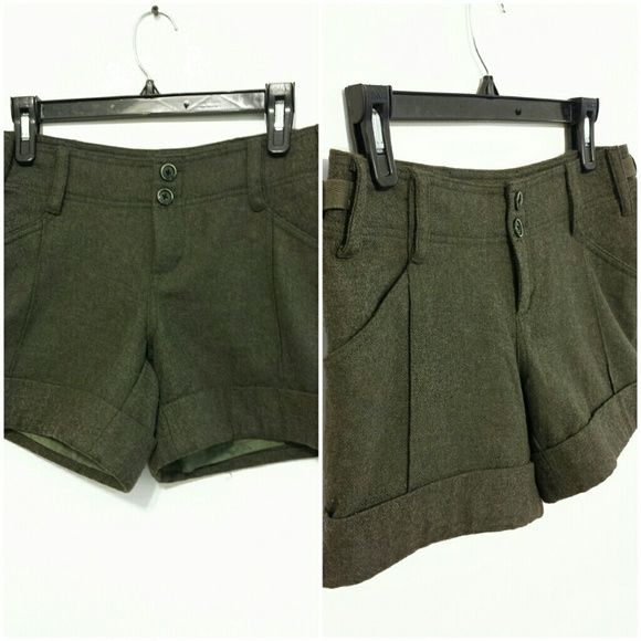 SALE: [HP] Anthropologie Wool Shorts [HOST PICK: 6/21/2015]  These are Anthropologie Wool Shorts.  Brand name Hei Hei...Size 2.  In MINT CONDITION.  BEAUTIFUL Dark Olive Green.  You will LOVE these • FINAL PRICE! Anthropologie Shorts