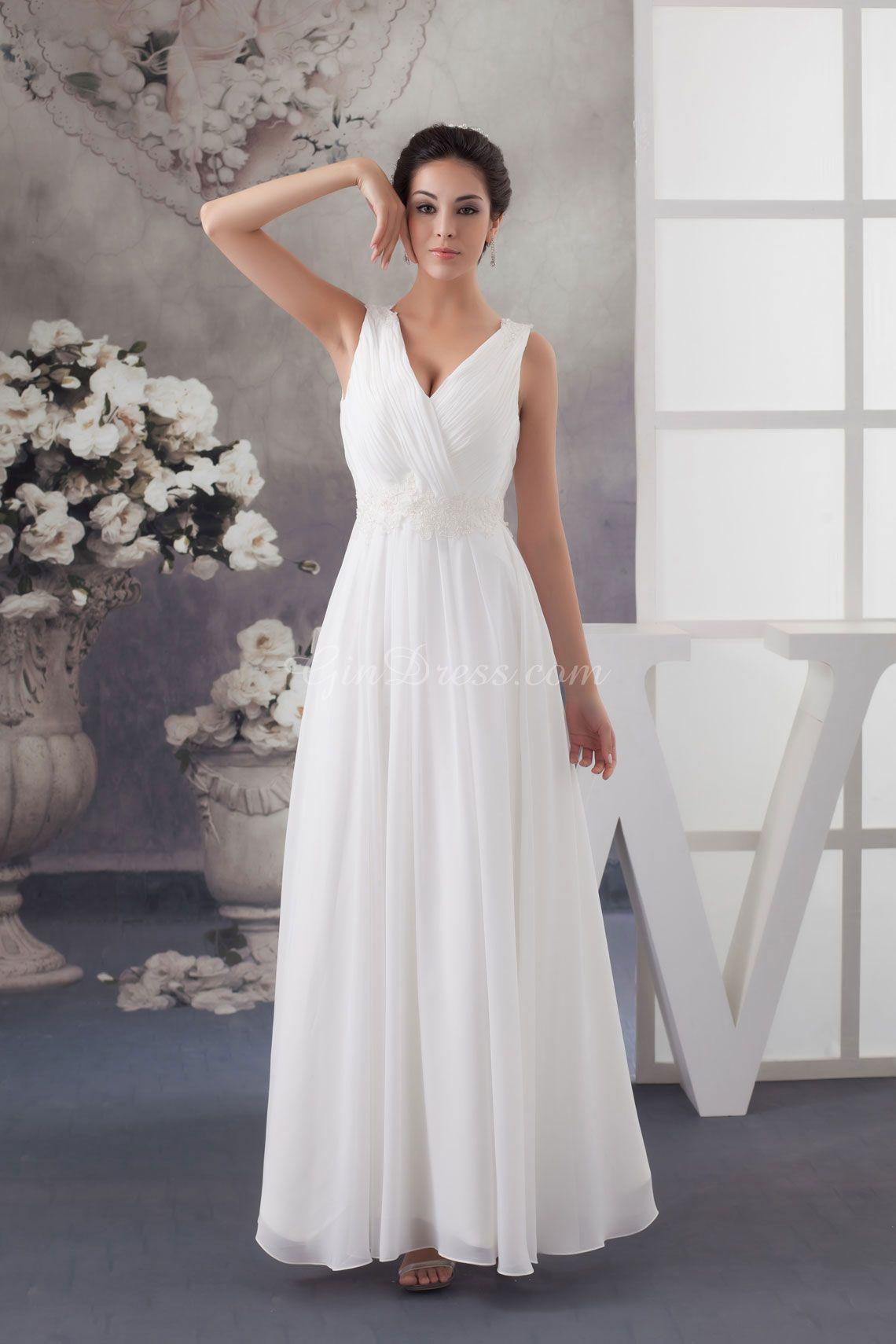 Crystals pleated vneck chiffon natural waist long wedding dress