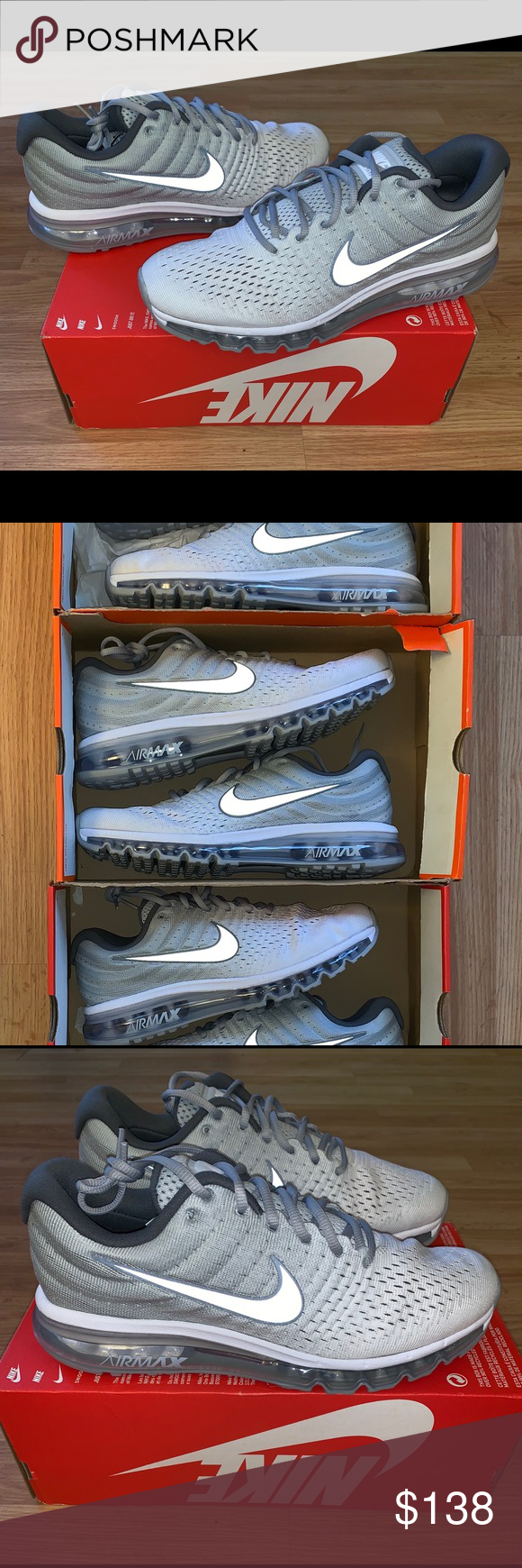 New Nike Airmax 2017 Wolf Grey Mens Size 10 11.5 New ! Nike