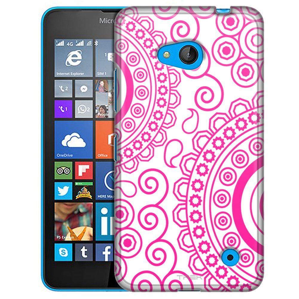 Nokia Lumia 640 Paisley Circles Pink on White Slim Case