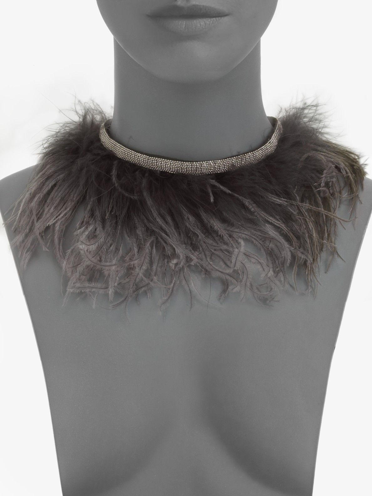 a2ef34039 Brunello cucinelli Ostrich Feather Necklace in Gray (nut) | Lyst $285