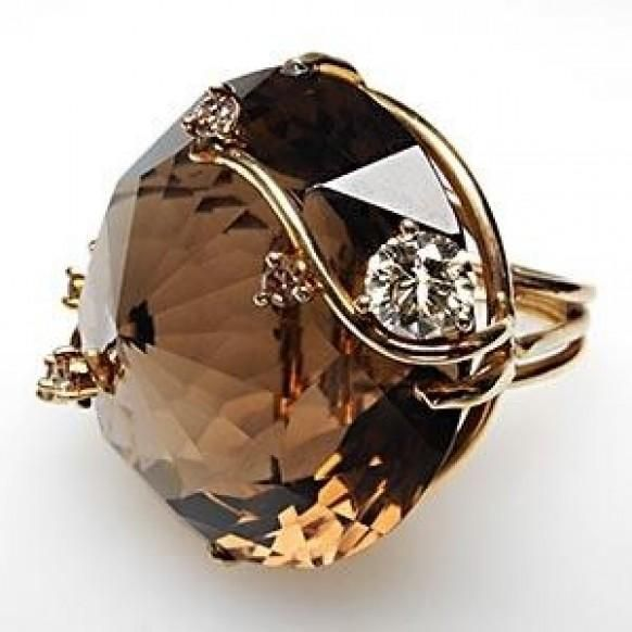 Weddbook is a content discovery engine mostly specialized on wedding concept. You can collect images, videos or articles you discovered  organize them, add your own ideas to your collections and share with other people - MASSIVE VINTAGE SMOKY QUARTZ & DIAMOND COCKTAIL RING