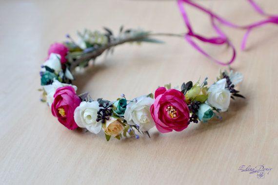 Bridal Flower crown wedding boho hair wreath pink white floral crown boho head dress flowers halo bridal wreath fuchsia wedding headband