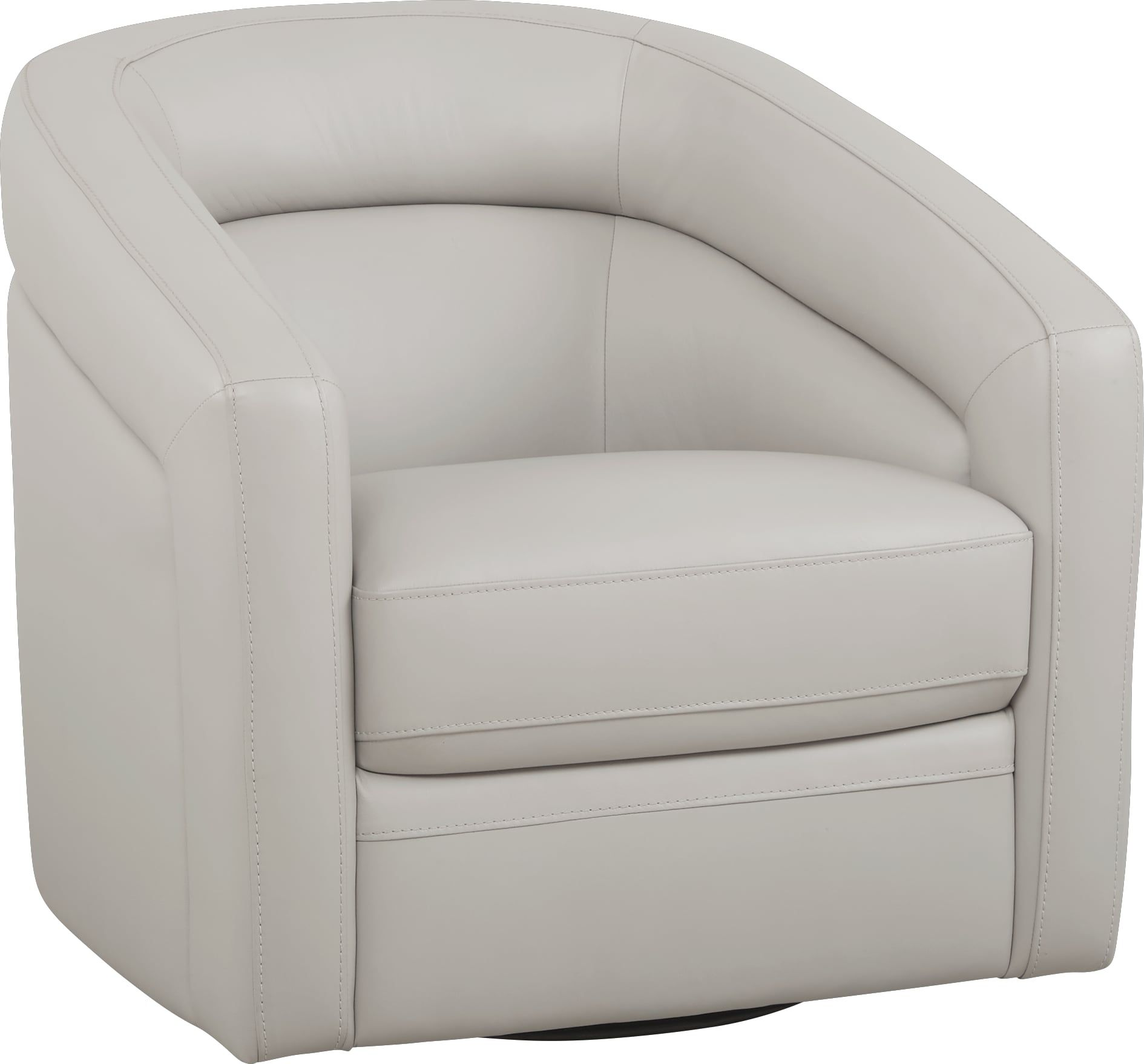 Modena Gray Leather Swivel Chair With