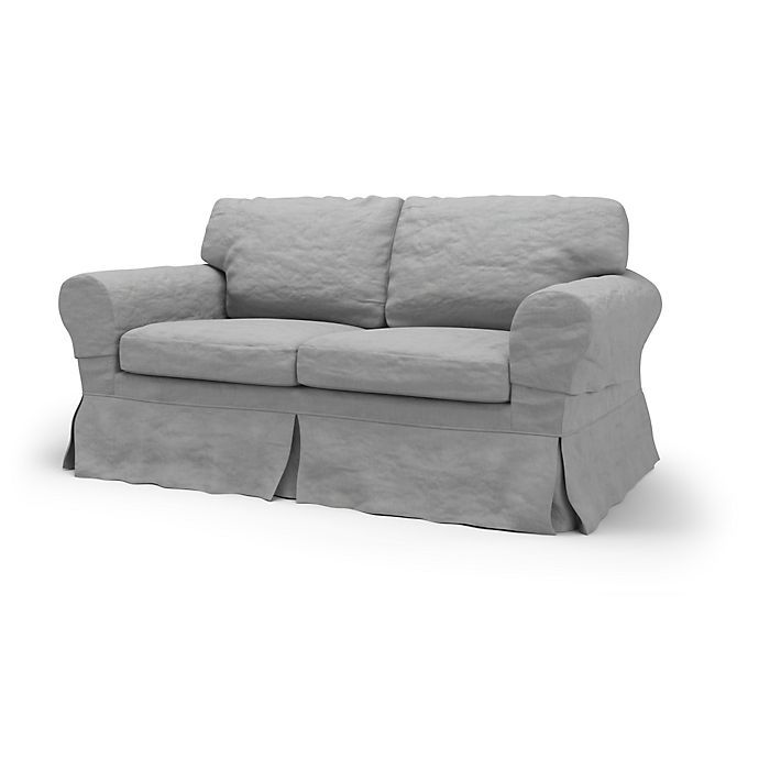 Ektorp Sofa Covers 2 Seater Loose Fit Country Using The Fabric Rosendal Pure Washed Linen Silver Grey Ikea Ektorp Sofa 2 Seater Sofa