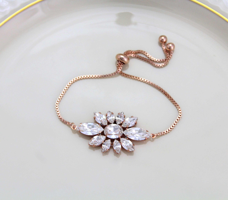 Rose gold bridal bracelet adjustable bracelet bridal jewelry