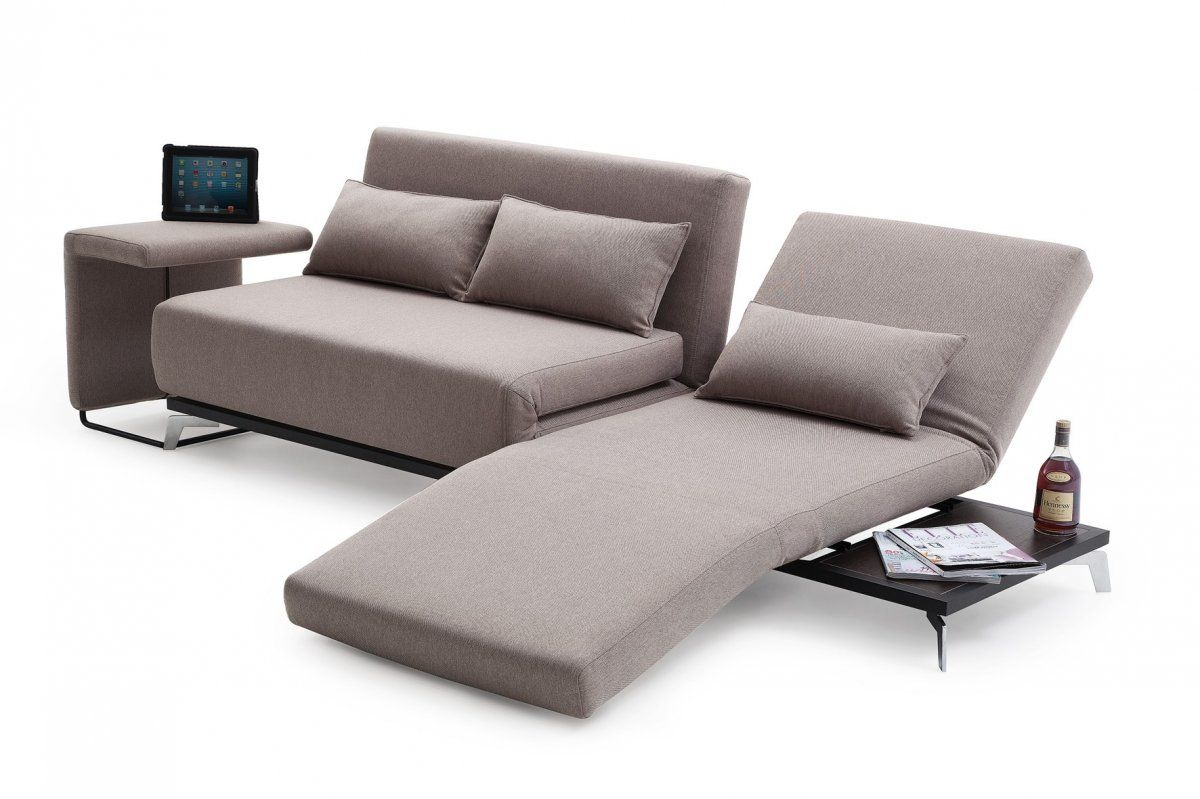 Modern sofa bed sets with a chaise lounge and table in metal frame