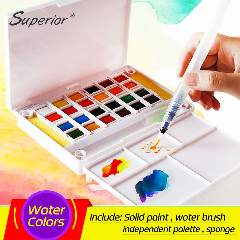 Superior 12 24 30 36 40colors Pigment Solid Watercolor Paints Set