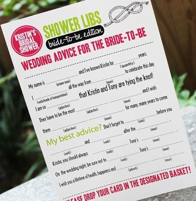 Wedding Shower Free Printables | Bridal Shower Games | Bridal Shower Idea | Shower Mad Libs « SHEfinds