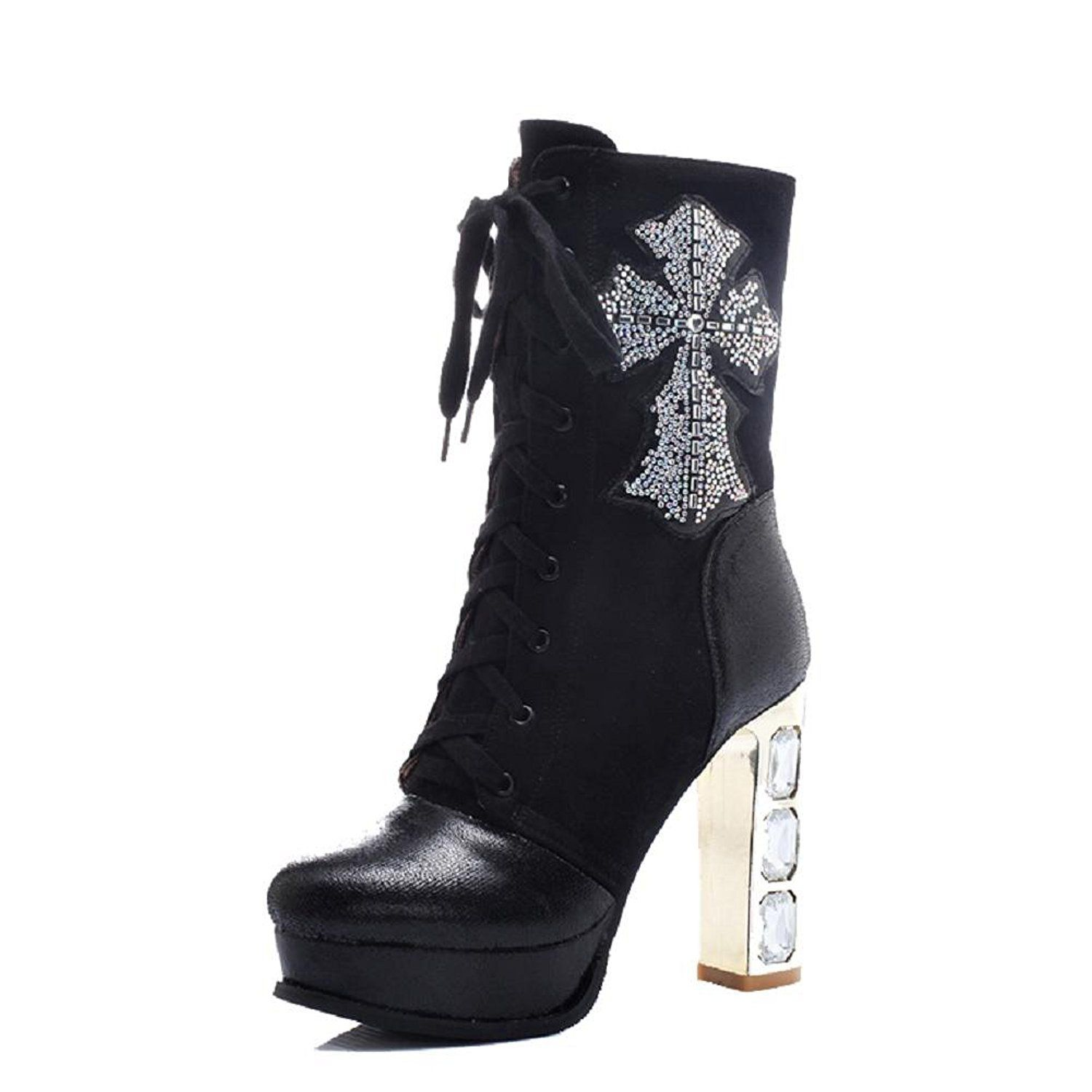 Women's Round Closed Toe High-Heels Low-Top Solid Boots