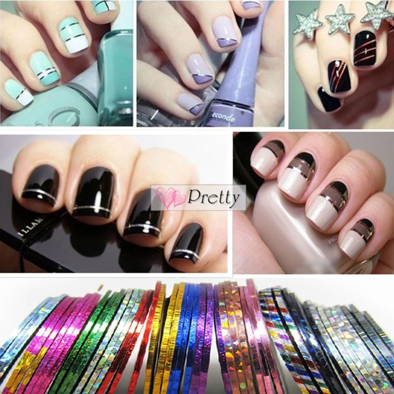 30Pcs Mixed Colors Rolls Striping Tape Line Nail Art Tips Decoration ...