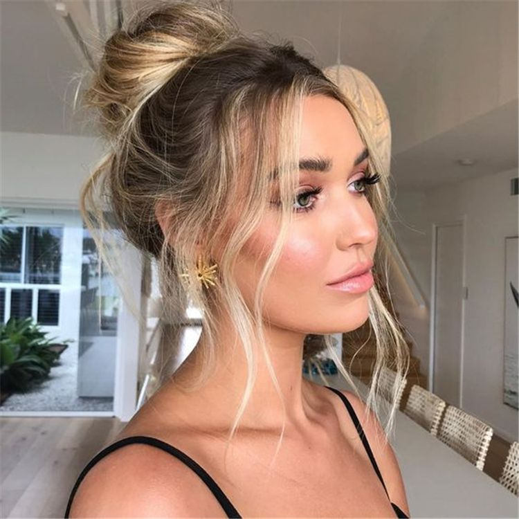 Chic And Cute Messy Bun Hairstyles For You To Try Immediately Messy Bun Bun Topknot High Bun Low Bun High Ponytail Hairstyles Hair Styles Long Hair Styles