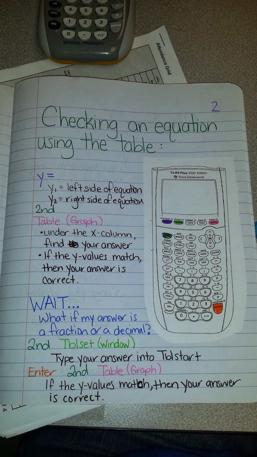 A Reader Shares: Graphing Calculator Tutorial INB Page (Math = Love ...