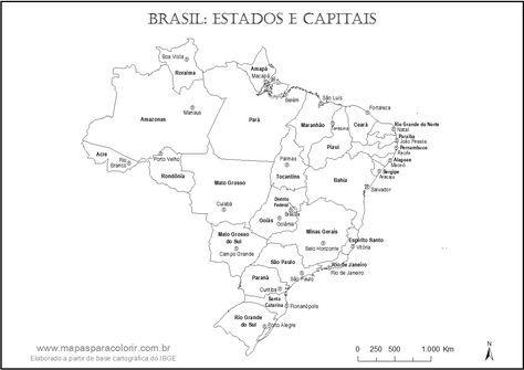 mapa do brasil para colorir com nomes dos estados e capitais