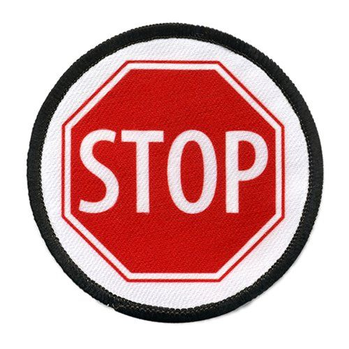 Service Dog Red Stop Sign Symbol 4 Inch Black Rim Round Sew On Patch
