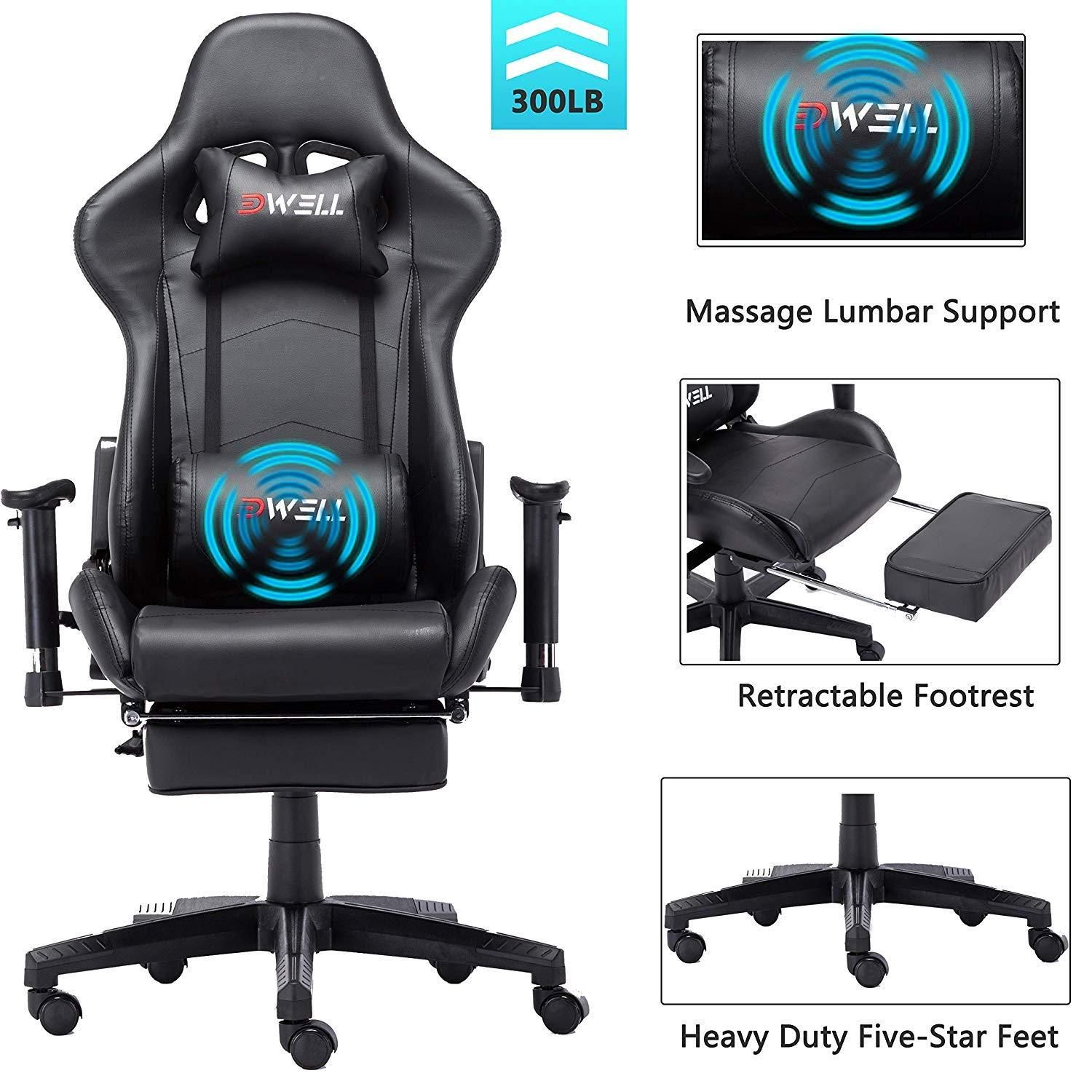 Edwell ergonomic gaming chair with headrest and lumbar