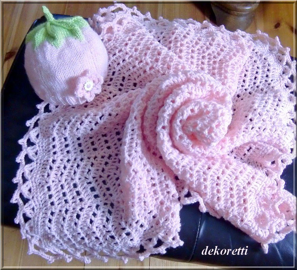 gehäkelte Babydecke in rosa im Zick-Zack-Muster | Gestricktes ...