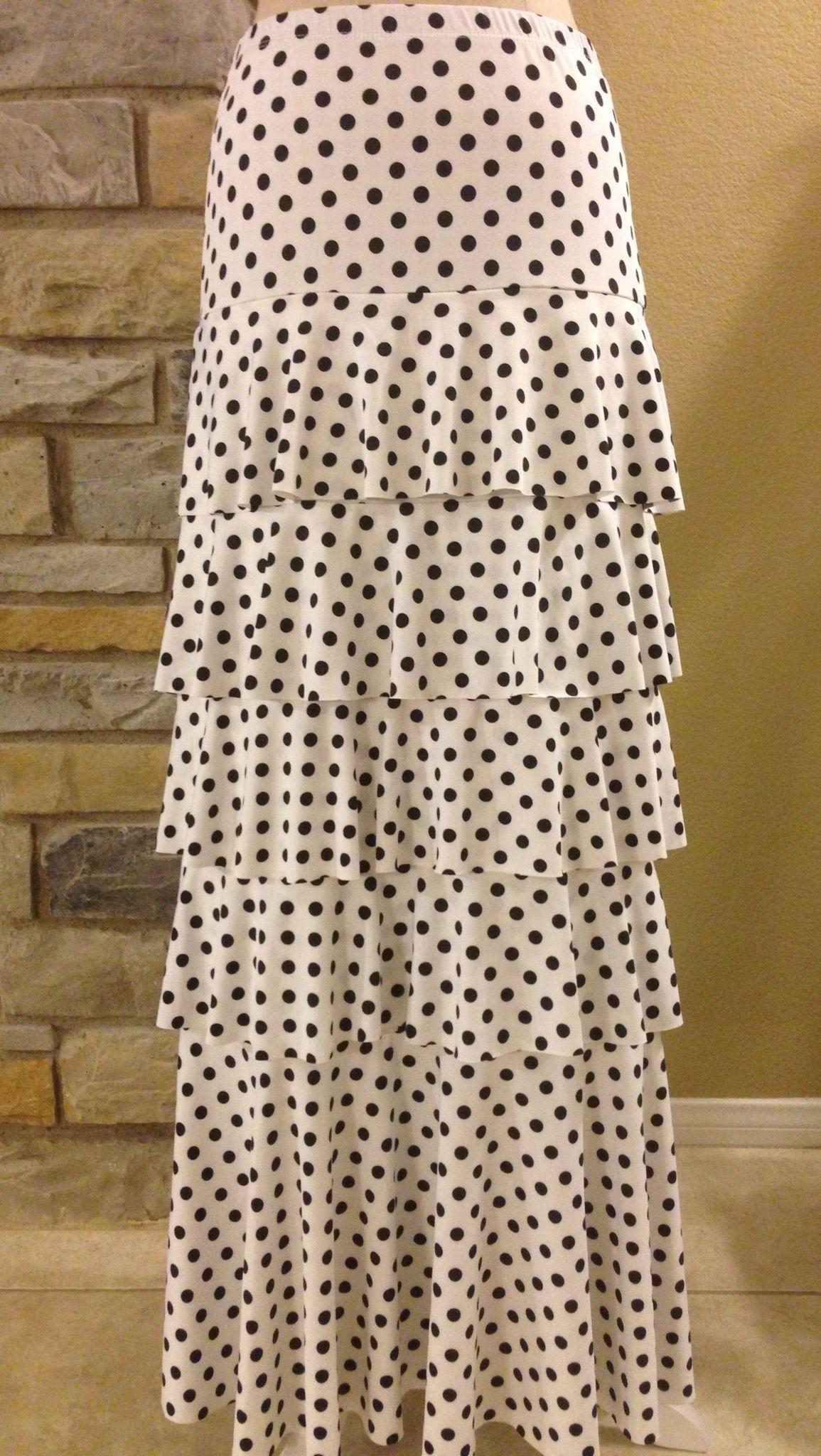 818d575e445d7 White & black polka dot ruffle layered skirt Shannasthreads.com Pin it to  win it!