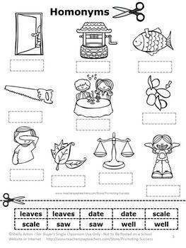 FREE Homonyms Cut and Paste Worksheet | Everything Teaching ...
