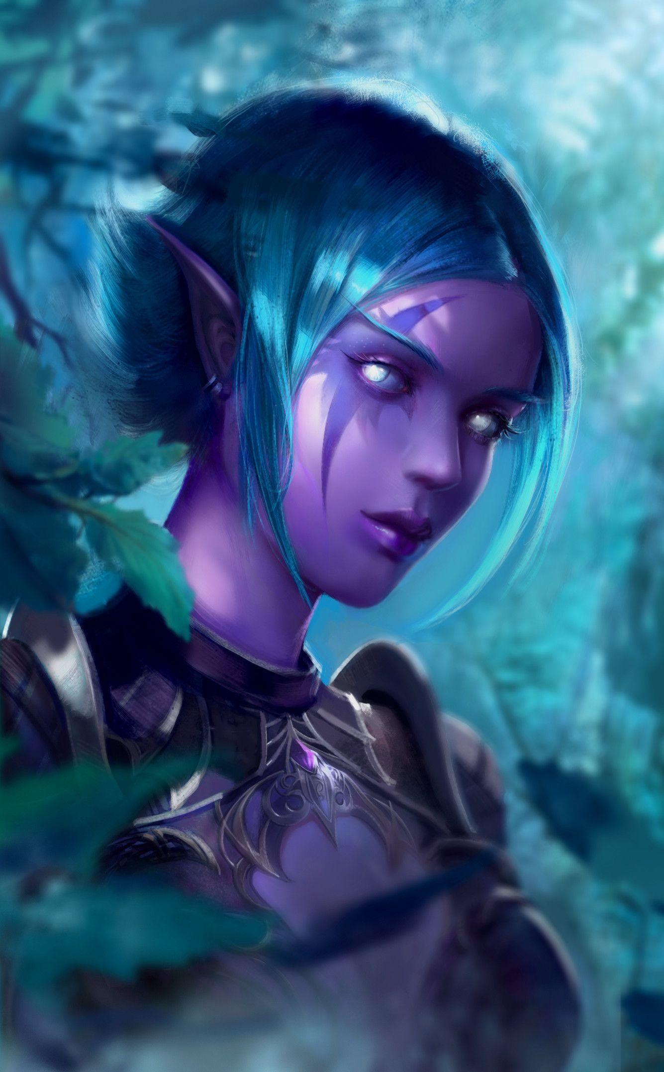 elf female world of warcraft night elves art | Night elf