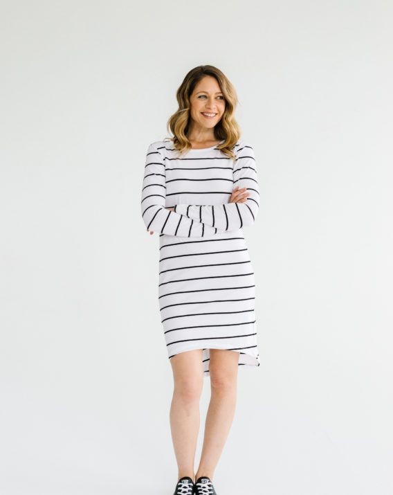 fa2d62ca8b6 Long Sleeve Dress Black Stripe - Blossom   Glow. Find this Pin and more on  B G Clothing Beyond Pregnancy ...